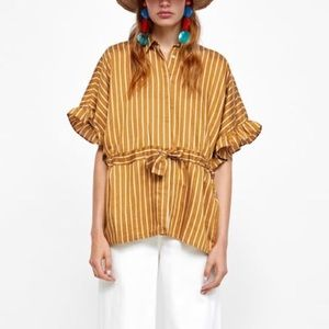 Zara Striped Tie Waist Blouse
